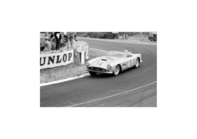 Chassis number 1451 GT races towards Arnage at the 1959 24 Hours of Le Mans.