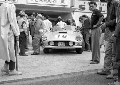 Chassis number 1451 GT in the pits at the 1959 24 Hours of Le Mans.