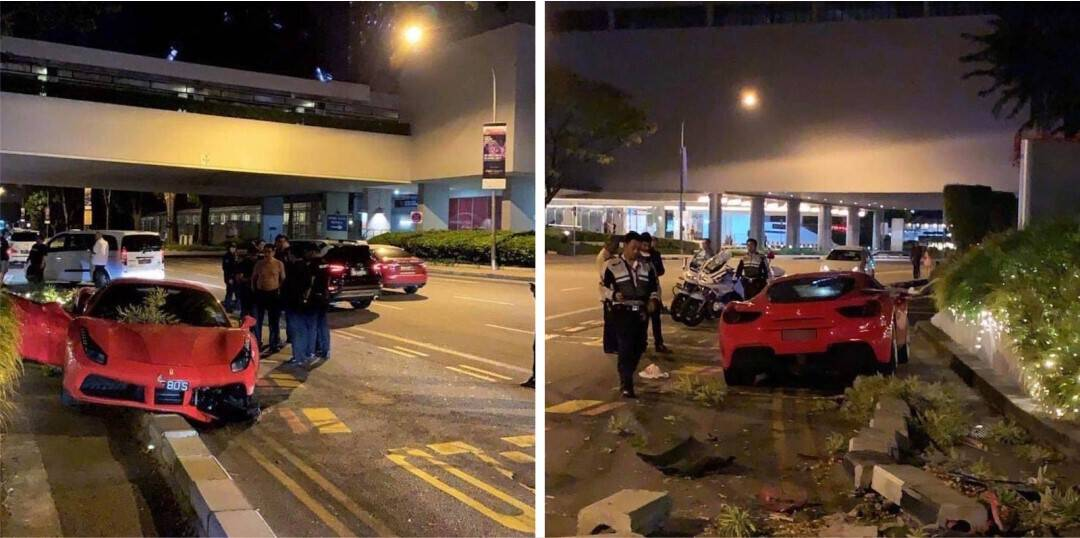Elderly Driver Wrecks Ferrari Outside Exclusive Singapore Hotel