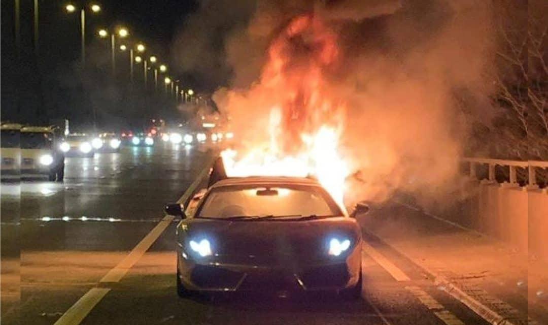 Lamborghini Gallardo Destroyed by Fire on M6