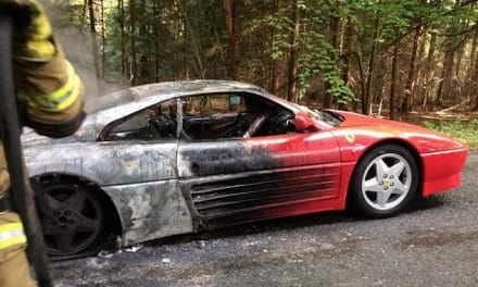 Ferrari 348 Destroyed in Blaze – Driver Unhurt