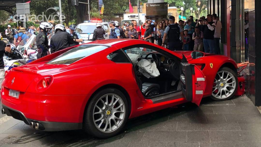 Ferrari Wrecked in Sydney Shopfront Crash